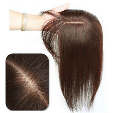 Straight Middle Part Silk Base Toupee With Bang 100% Human Hair Piece Topper