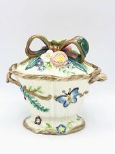 Fitz & Floyd Compote Covered Dish Garden Flower Butterfly Large Bow Twin Handles