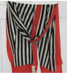 Morgan & Oates Black and White Striped Scarf/Wrap with Red trim Merino/Cashmere