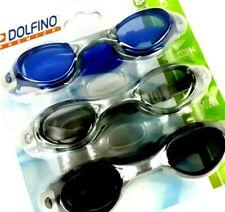 Dolfino Adult 3 Pack Swim Goggles Clear, Smoke, Blue Anti Fog Latex Free UV400