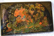 "RUSSIAN LACQUERED BOX WITH COA, ""FIGHTING THE DRAGON"" PALEKH VILLAGE"