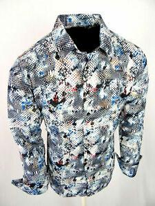 White Blue Floral Shirt Mens Slim Fit Designer Fashion Button Up Gold Foil