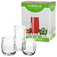 18 Pcs Drinking Glasses Cups Set Highball & Short Whiskey Tumblers - 2 Options