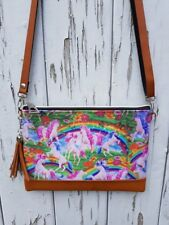 Unicorn & Rainbow Handbag - Pink Mystical Alternative Flower Bag Brown