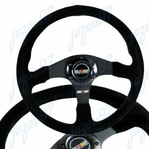 "14"" MITSUBISHI RALLIART Black Stitching Suede Sport Steering Wheel w Horn Button"