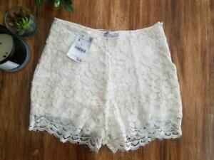 ZARA NWT NEW ivory Crochet Boho Knit High Waist Hi Lace Shorts Beige Small S $60