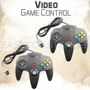 2 For Nintendo N64 Remote Video Game Controller Pad Console Black