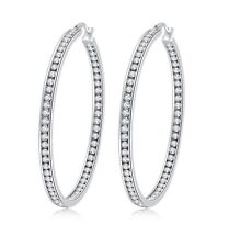 """2"""" Stunning Stainless Steel High Shine Inside-Out Hoop Earrings With CZ"""