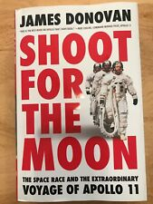 Apollo 11 James Donovan signed SHOOT FOR THE MOON, photo of signing & of flyer