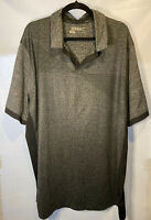 Nike Golf Tour Performance Dri Fit Stripe Polo Shirt Black Gray Sz XXL 2XL
