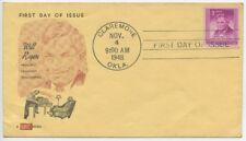 1948 FDC, WILL ROGERS, 1st KOLOR KOVER CACHET