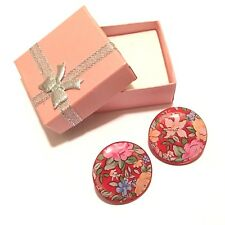 Ladies Handmade Button Earrings, Red Flower Trendy Fashion Multicolour Design