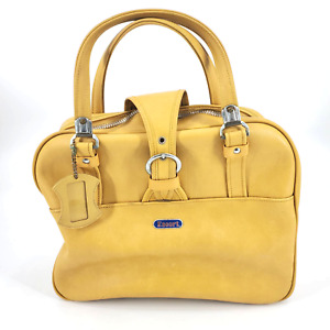 Vintage 60s Escort Mustard Yellow Travel Carry on Bag Double Handle & Tag retro