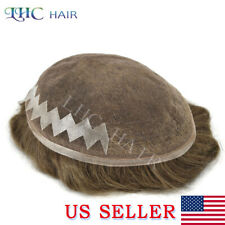 French Lace Front Mens Toupee Natural Hair-line Human Hair Replacement Mens Wig