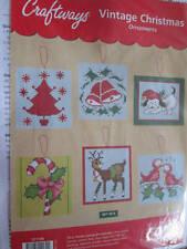 Vintage Christmas Plastic Canvas Ornaments Kit- Craftways- Makes 6- Approx 4 Inc