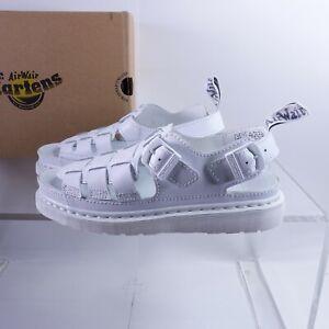 Size 11 Men's Dr. Martens 8092 Arc Mono Strappy Sandals 25736100 White/Softy T