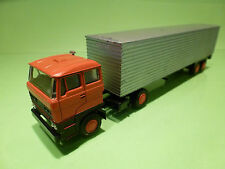 LION CAR 58 36 DAF 2800 TRUCK + EUROTRAILER - ORANGE SILVER 1:50 -  VERY GOOD