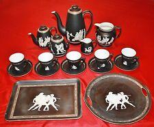 Antique Pratt Fenton Old Creek & Royal Bayreuth Greek Gilded Black Matt Pottery