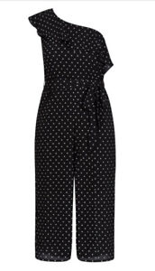 CITY CHIC  - Rhythm Polka Dot Jumpsuit Size XL/22/Plus Size/Spots/Ruffle/Belt