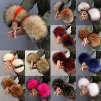 Ladies Winter Warmer Faux Fur Plush Cuff Windproof Oversleeve Wrist Wristband
