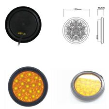 Yellow 16 LED Round Tail Lights Back-up Reverse Lamps For Truck Trailer RV