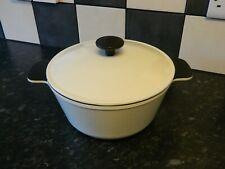 cast iron casserole dish and lid cream finish