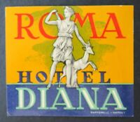 Ancienne étiquette valise HOTEL DIANA ROMA Rome old luggage label