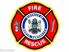 """NORTH VANCOUVER CANADA FIRE DEPARTMENT 4"""" HELMET BUMPER STICKER DECAL USA MADE"""