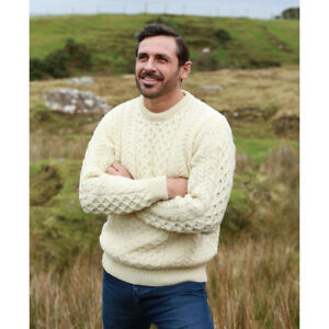 100% Natural Wool Crew Neck Traditional Aran Sweater, White Colour