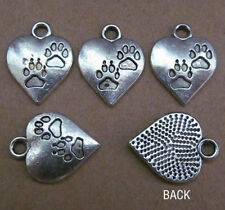 PP51 12pc Tibetan Silver Dangle Charm Heart love Footprints Beads Accessories