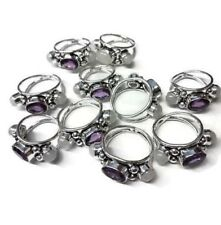 Bulk Price Lot !! 20 PCs. Amethyst & Moonstone 925 Sterling Silver Plated Ring