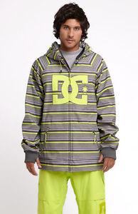 DC Spectrum Jacket Mens Snowboard Ski Soft Shell 10K Waterproof Coat Stripe S