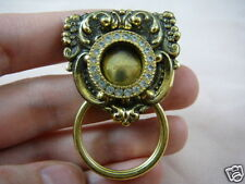 #E690)  circle white brass Eyeglass pin pendant ID badge holder