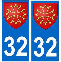 Autocollant 32 croix occitane occitan plaque immatriculation auto Gers
