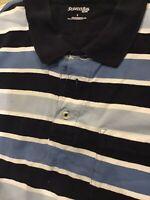 St Johns Bay Polo Shirt Men's Size Large Navy Blue Striped Short Sleeve