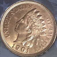 1901 Indian Head Penny 4 SHARP DIAMONDS  AWESOME COIN***Cleaned