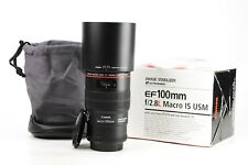 Canon EF 100mm F2.8 Pro L Series IS Macro USM Prime Lens Boxed Caps & Hood EXC