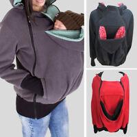 Mom's Maternity Kangaroo Hoodie Mum Dad Baby Wrap Carrier Pet Holder Shirt Coat