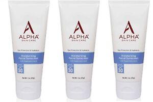 3x Alpha Skin Care (Alpha hydrox) Moisturizing Facial Sunscreen SPF 30 - 3oz. ea