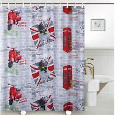 British bulldog union jack drapeau rouge téléphone boîte salle de bains rideau de douche