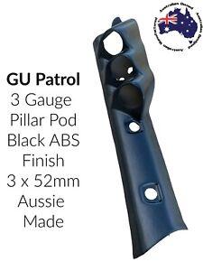 3 Gauge Pillar Pod Painted to suit GU Patrol Black ABS Aussie Made 52mm