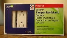 NEW!! Leviton Decora 15A/125V Tamper Resistant Outlets T5325-WMP (6618)
