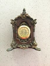 Gold/brown Ornate Miniature Clock Casing With Quartz Clock 40mm Insert .
