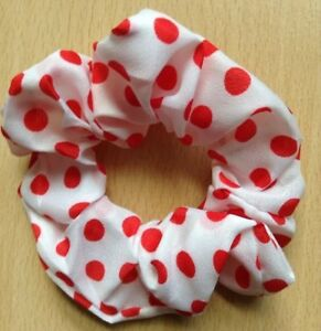 A Creamy White With Red Dots Silky Scrunchie Ponytail Band / Bobble
