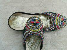 BLACK LADIES INDIAN LEATHER WEDDING   SHOES   SIZE 5
