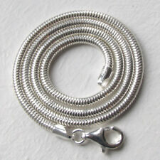 Italian Solid Sterling Silver 3mm Snake Chain Necklace, Length 30""