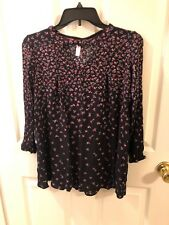 WOMEN'S CLOTHING/ PULLOVER TOP/ XHILARATION/ COLD SHOULDER/ BLK-Red @6