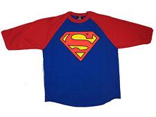 Superman Baseball Style Shirt, 3/4 Sleeve, 2001 DC Comics Copyright, Sz XL