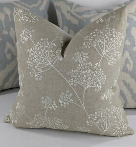 """John Lewis & Partners """"COW PARSLEY"""" Fabric Cushion Cover 16""""  Embroidery Beige"""