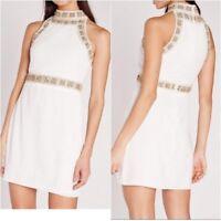 Missguided Premium Floral Beaded High Neck Mini Dress White UK 12 (ca234)
